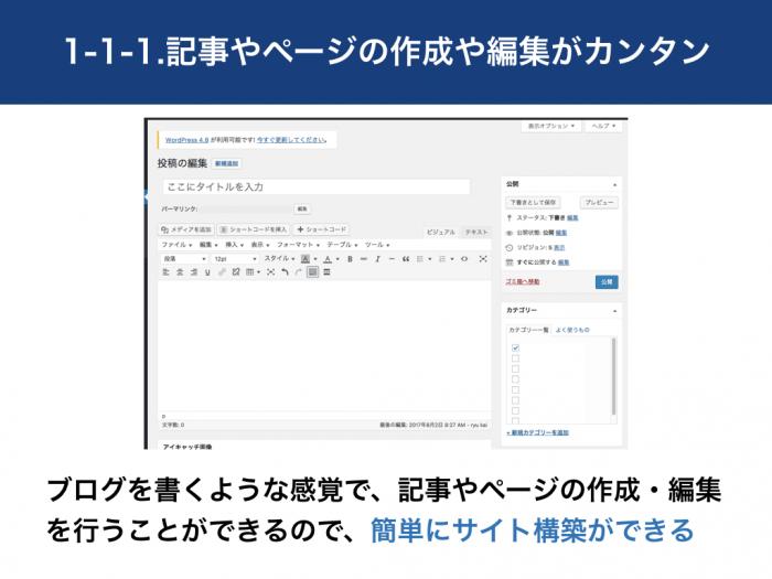 ブログを書くような感覚で、記事やページの作成・編集を行うことができるので、簡単にサイト構築ができる