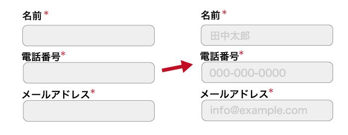 プレースホルダーで記入例を明記した例