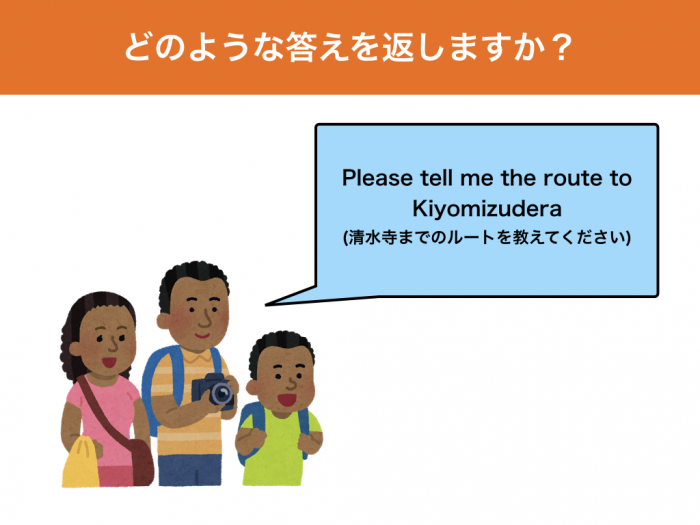 Please tell me the route to Kiyomizudera (清水寺までのルートを教えてください)